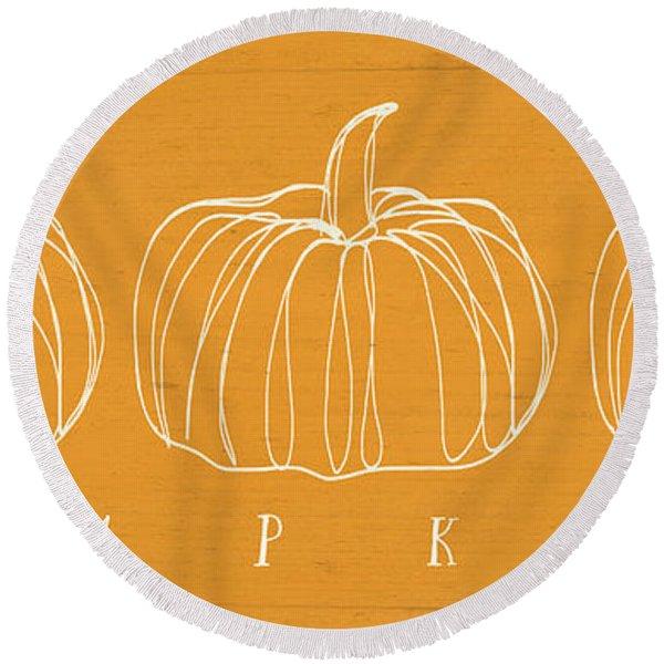 Pumpkins- Art By Linda Woods Round Beach Towel