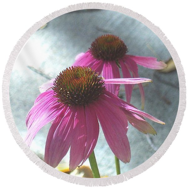 Purple Echinacea Round Beach Towel