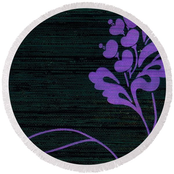 Round Beach Towel featuring the mixed media Purple Glamour On Black Weave by Writermore Arts