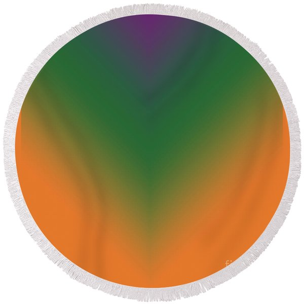 Purple, Green And Orange Round Beach Towel