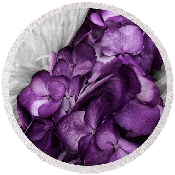 Purple In The White Round Beach Towel