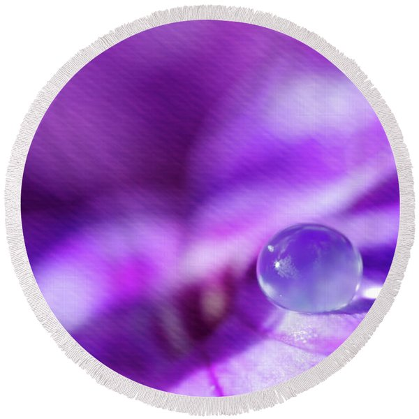 Purple Rain Drop Round Beach Towel