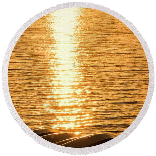 Round Beach Towel featuring the photograph Quinault Sunset Retake by Michael Hope