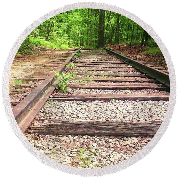 Railroad Tracks To Neverland Round Beach Towel