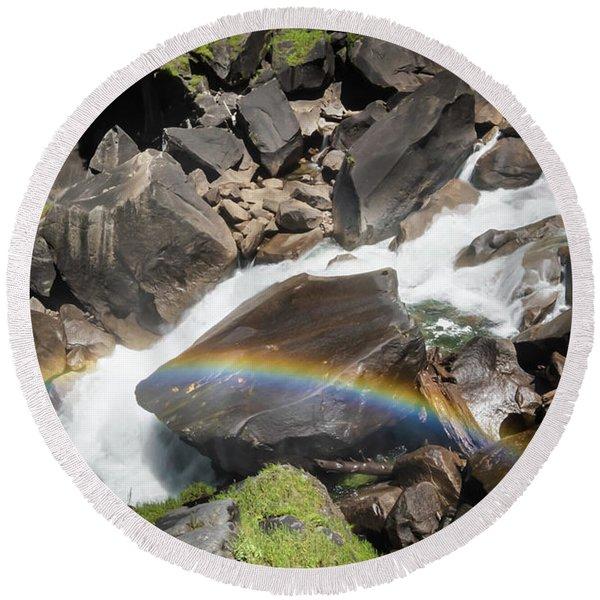 Rainbow At Vernal Falls- Round Beach Towel