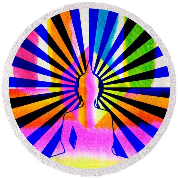 Rainbow Buddha Round Beach Towel