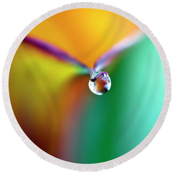 Rainbow Drop Round Beach Towel