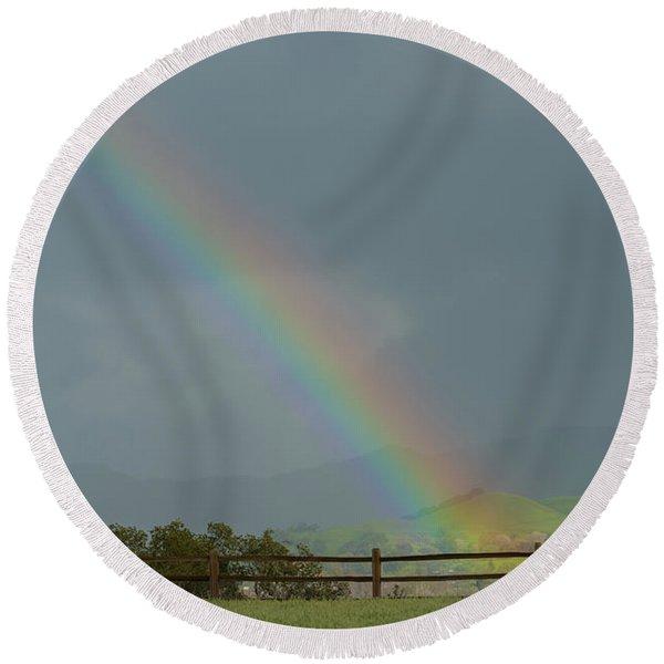 Rainbow On Valhalla Dr. Round Beach Towel
