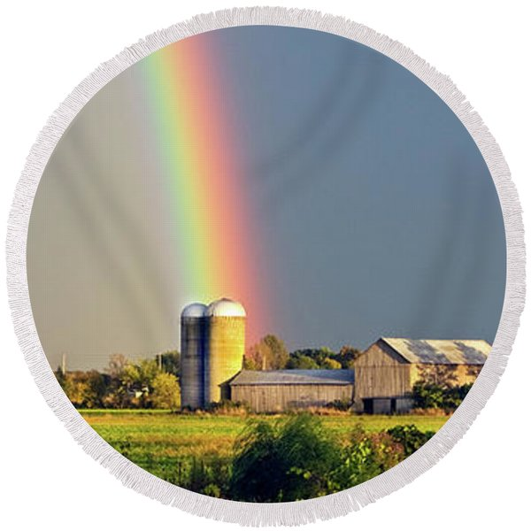 Rainbow Over Barn Silo Round Beach Towel