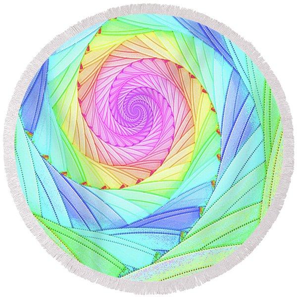 Rainbow Spiral Round Beach Towel