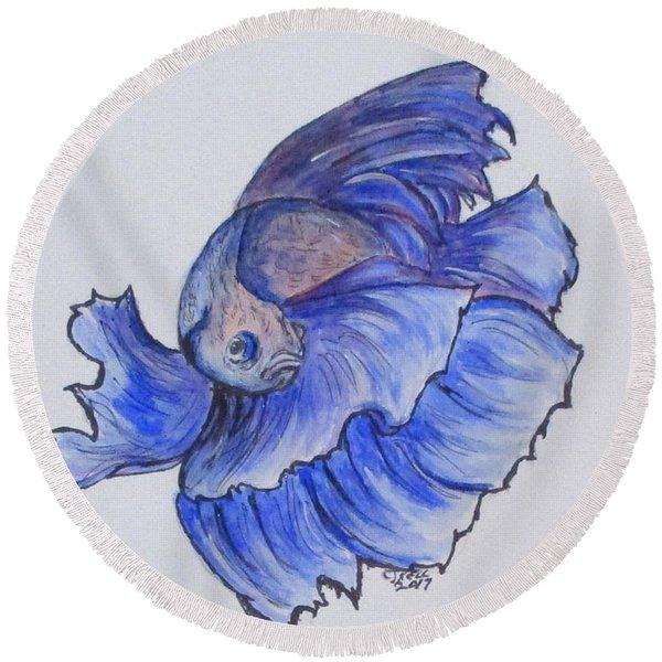Ralphi, Betta Fish Round Beach Towel