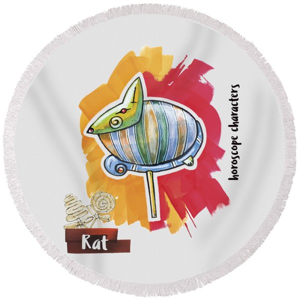 Round Beach Towel featuring the drawing Rat Horoscope by Ariadna De Raadt