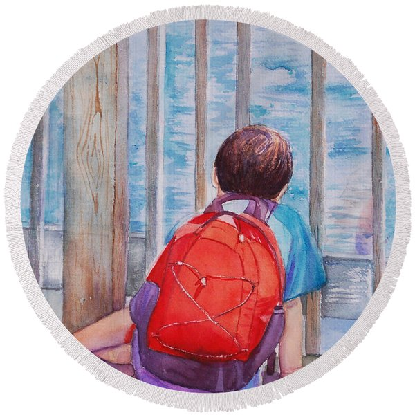 Red Backpack Round Beach Towel