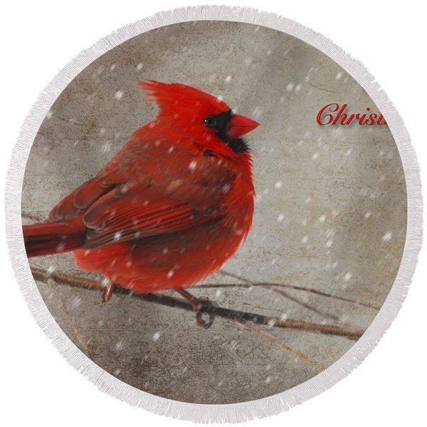 Red Bird In Snow Christmas Card Round Beach Towel