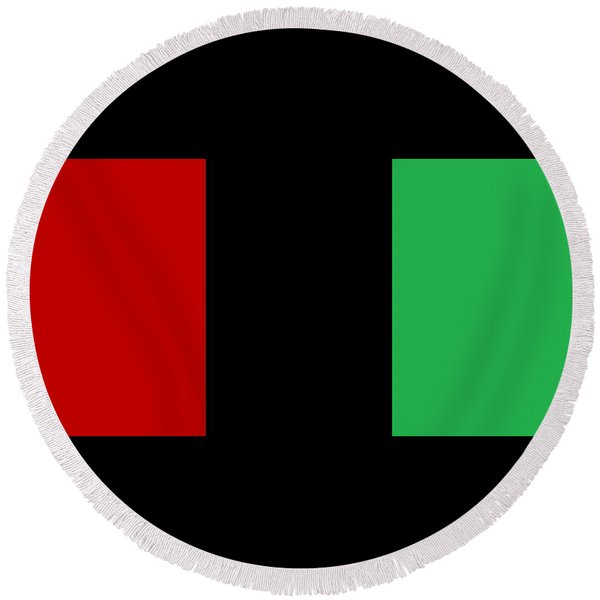 Red Black And Green Round Beach Towel