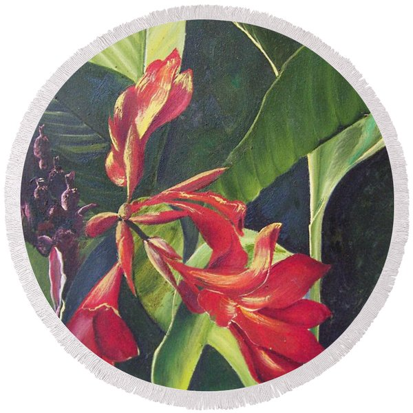 Red Cannas Round Beach Towel