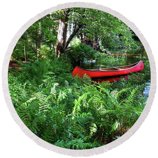 Red Canoe In The Adk Round Beach Towel