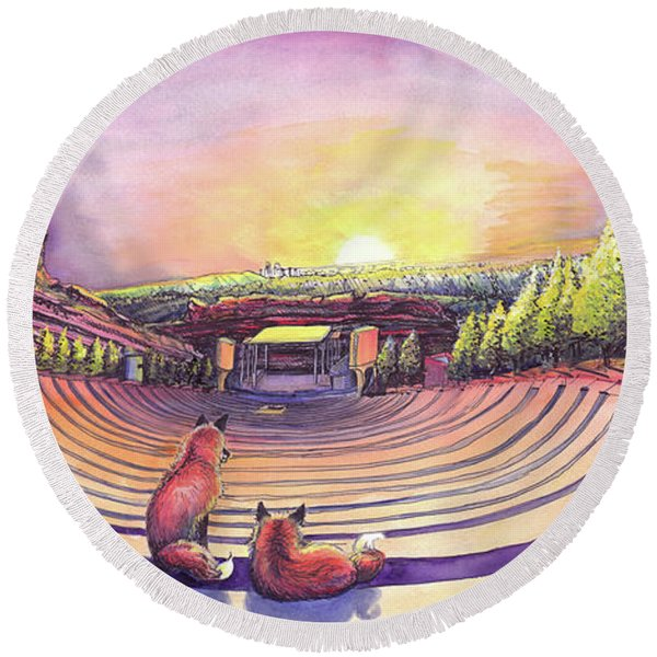 Foxes At Red Rocks Sunrise Round Beach Towel