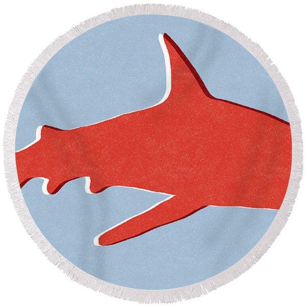 Red Shark Round Beach Towel