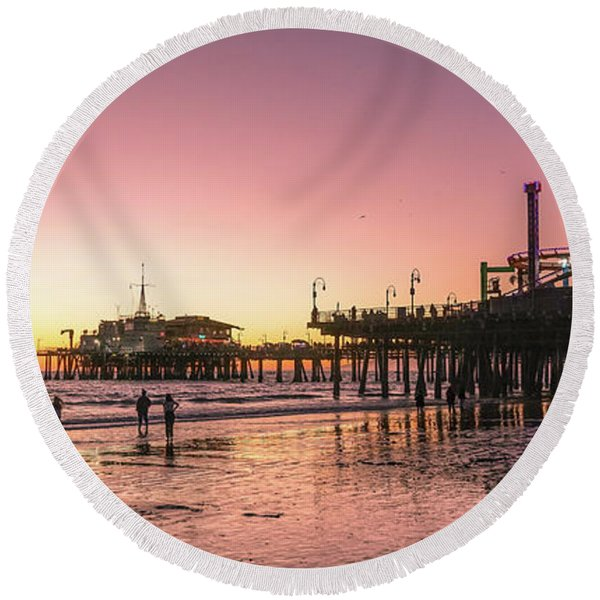 Round Beach Towel featuring the photograph Red Sunset In Santa Monica by Michael Hope