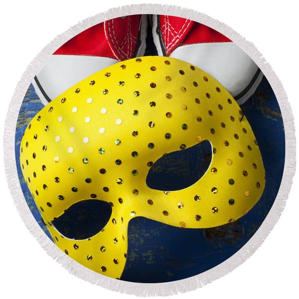 Red Tennis Shoes And Mask Round Beach Towel