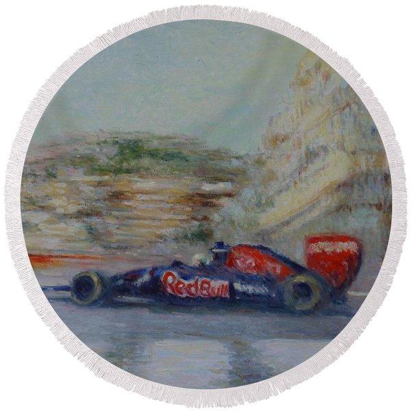Redbull Racing Car Monaco  Round Beach Towel