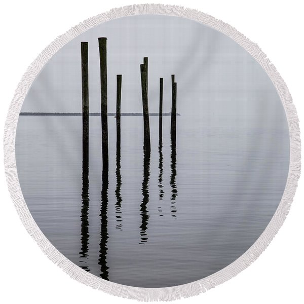 Reflecting Poles Round Beach Towel