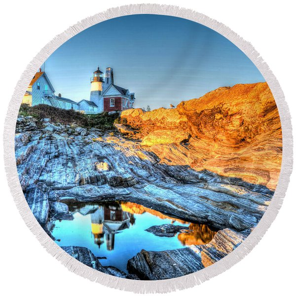 Reflections At Pemaquid Point Round Beach Towel