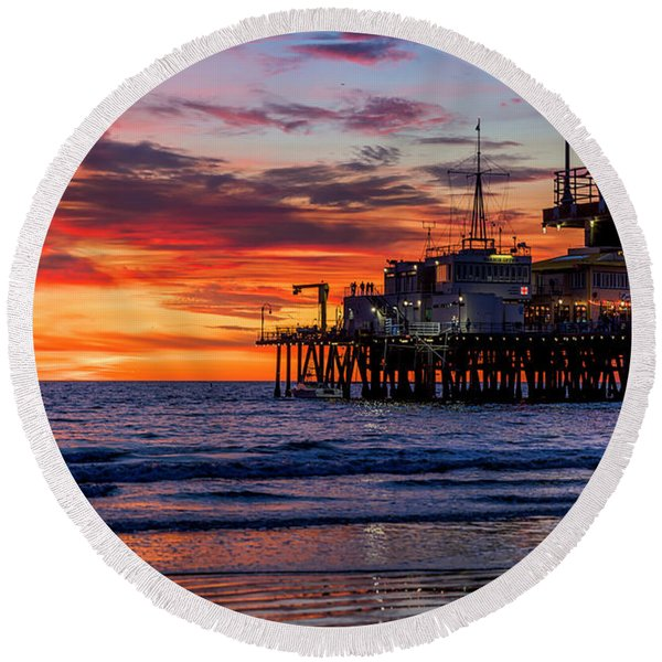 Reflections Of The Pier Round Beach Towel