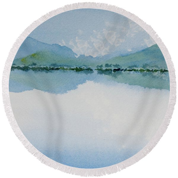 Reflections Of The Skies And Mountains Surrounding Bathurst Harbour Round Beach Towel