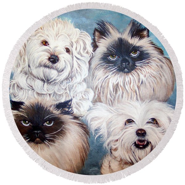 Round Beach Towel featuring the painting Reigning Cats N Dogs by Nancy Cupp