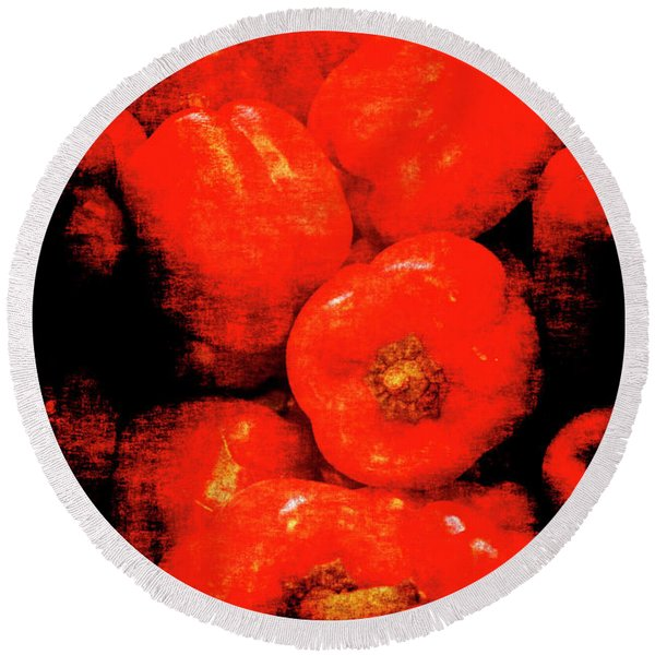 Renaissance Red Peppers Round Beach Towel