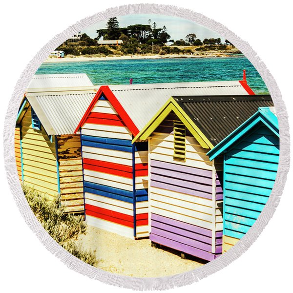 Retro Beach Boxes Round Beach Towel