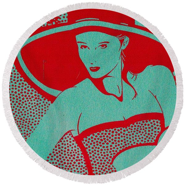 Round Beach Towel featuring the mixed media Retro Glam by Writermore Arts