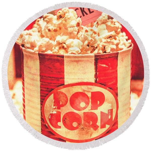Retro Tub Of Butter Popcorn And Ticket Stub Round Beach Towel