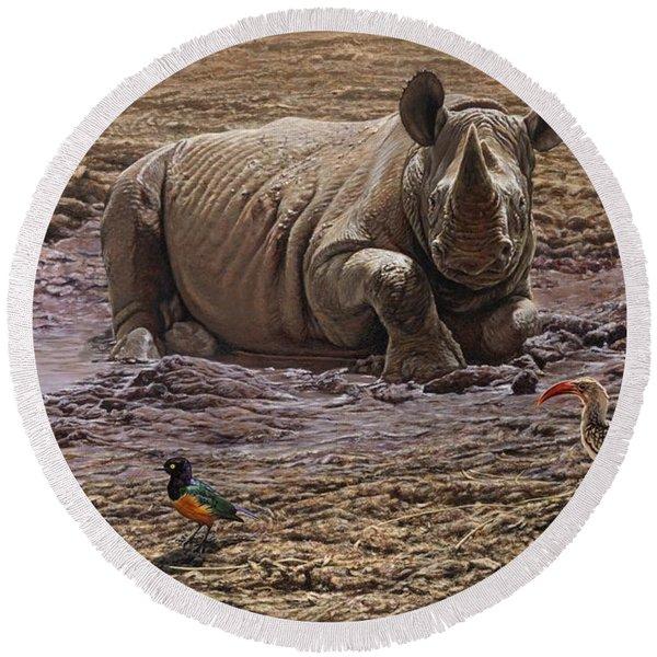Rhino Round Beach Towel