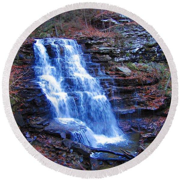 Ricketts Glen Waterfall 3941  Round Beach Towel