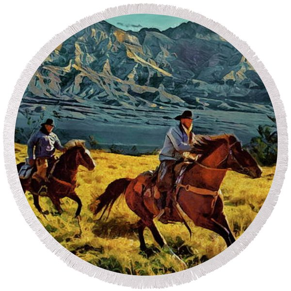 Ride'm Cowboy Round Beach Towel
