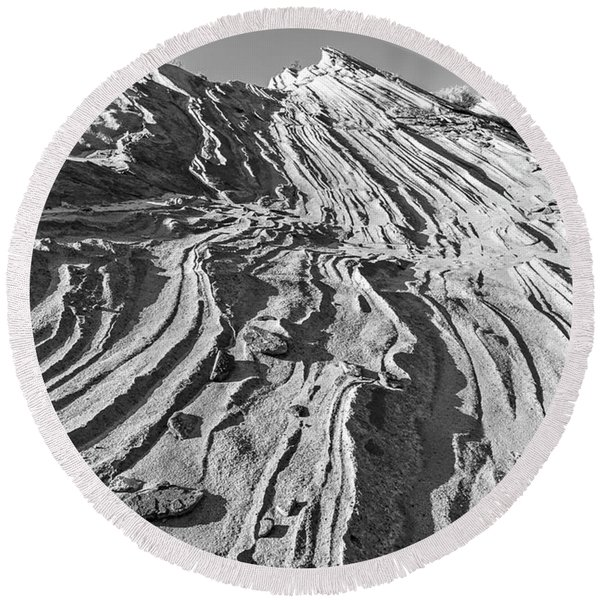 Round Beach Towel featuring the photograph Rippled Sandstone At Waterhole Canyon by Lon Dittrick