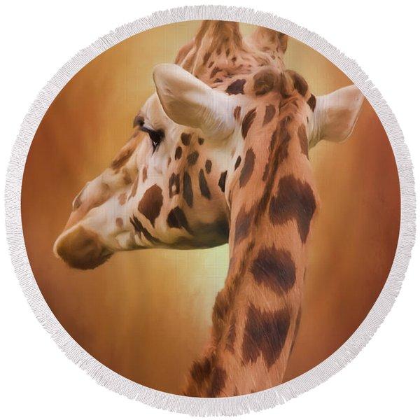 Rising Above - Giraffe Art Round Beach Towel