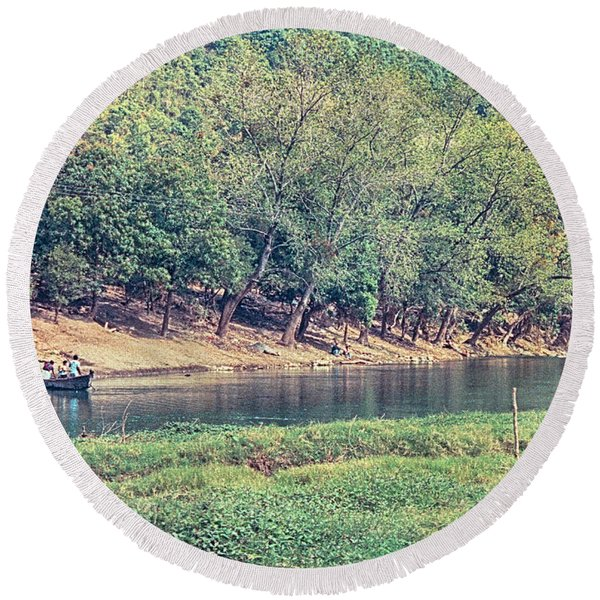 River Crossing Round Beach Towel