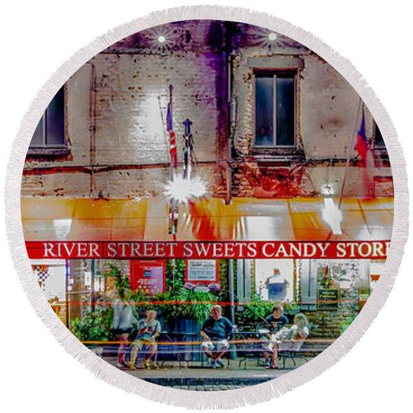 River Street Sweets Candy Store Savannah Georgia   Round Beach Towel