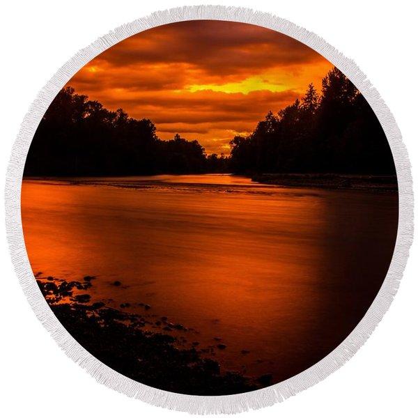 River Sunset 2 Round Beach Towel