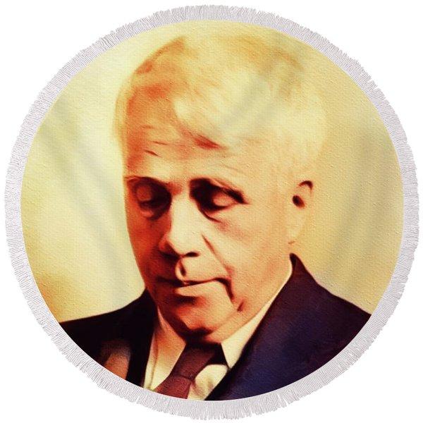 Robert Frost, Literary Legend Round Beach Towel
