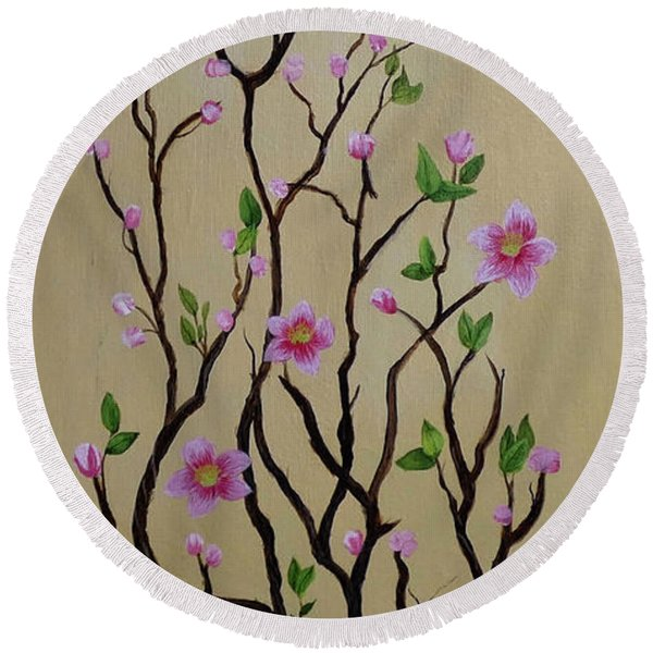 Robin And Spring Blossoms Round Beach Towel