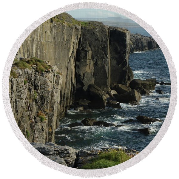 Rock Climbing Burren Round Beach Towel