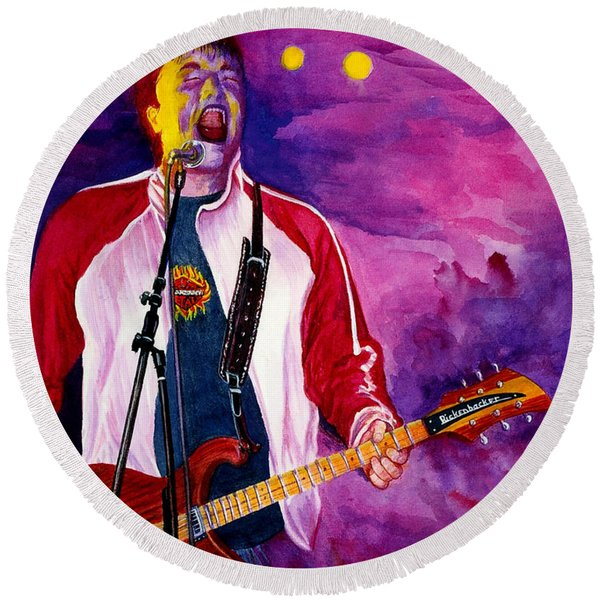 Round Beach Towel featuring the painting Rock On Tom by Nancy Cupp
