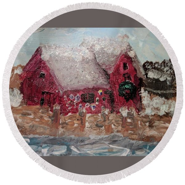 Rockport Christmas 1 Round Beach Towel