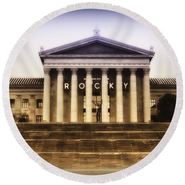 Round Beach Towel featuring the photograph Rocky On The Art Museum Steps by Bill Cannon