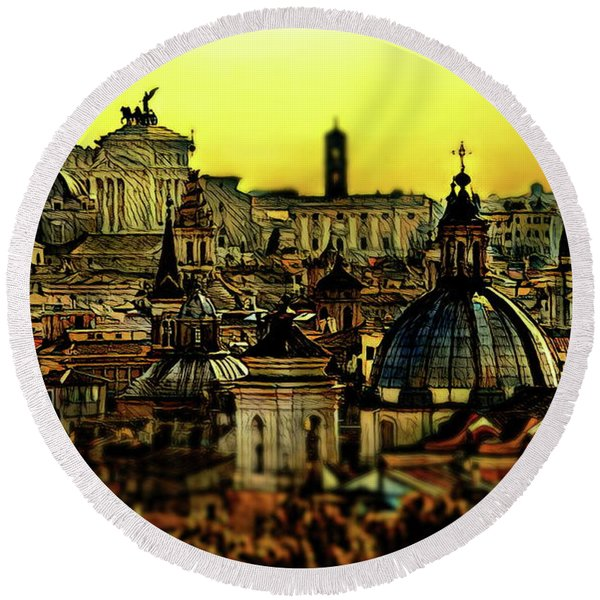 Rome Round Beach Towel